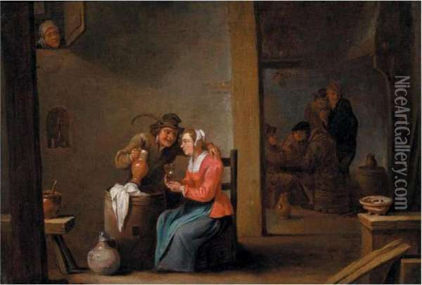 A Tavern Scene Oil Painting - David The Younger Teniers