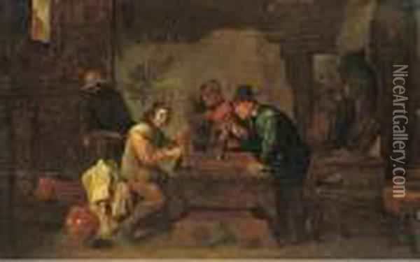 The Backgammon Players Oil Painting - David The Younger Teniers