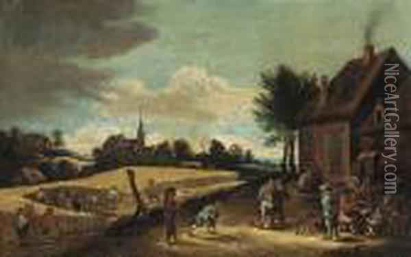 Peasants Playing Skittles Outside An Inn With Farmhands Harvestingin A Nearby Field Oil Painting - David The Younger Teniers