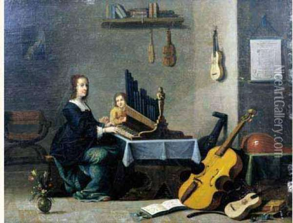Allegorie De La Musique. Oil Painting - David The Younger Teniers