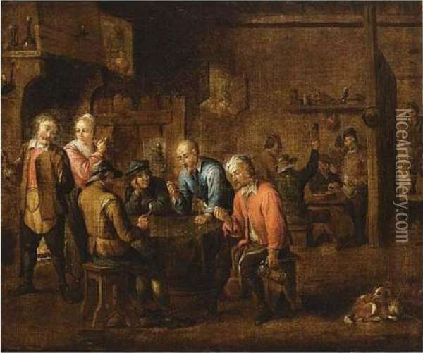 Peasants Smoking And Playing Dice In An Inn Oil Painting - David The Younger Teniers