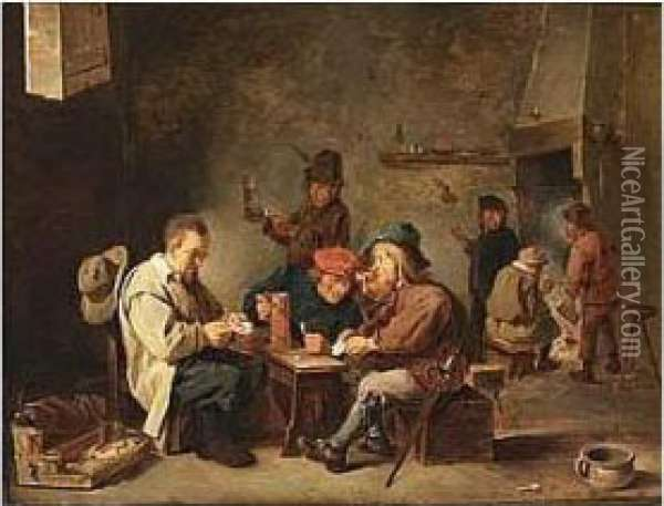 Bears Teniers Signature And Date 16.. Lower Right Oil Painting - David The Younger Teniers