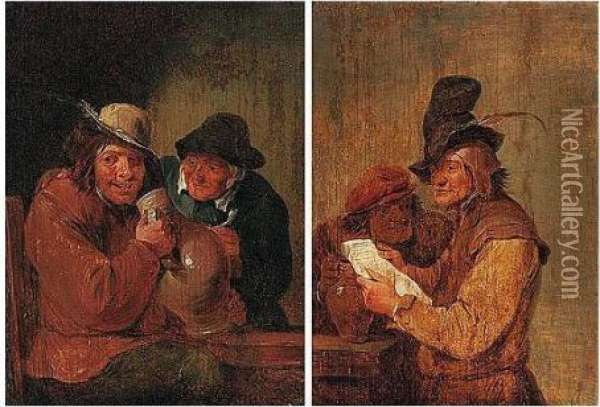 Two Boors Drinking And Reading A Letter At A Table Oil Painting - David The Younger Teniers