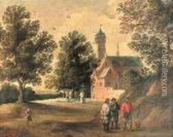 A Wooded Landscape With Figures Talking Outside A Building Oil Painting - David The Younger Teniers