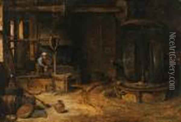 The Interior Of A Mill Oil Painting - David The Younger Teniers