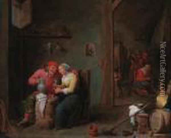 A Courting Couple In An Inn Oil Painting - David The Younger Teniers