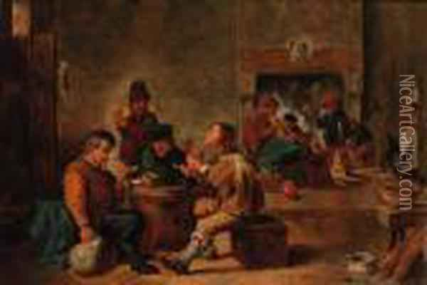 Peasants In A Tavern Interior Oil Painting - David The Younger Teniers