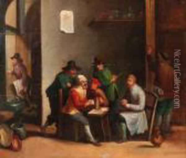 Boors Playing At Cards In An Inn Oil Painting - David The Younger Teniers