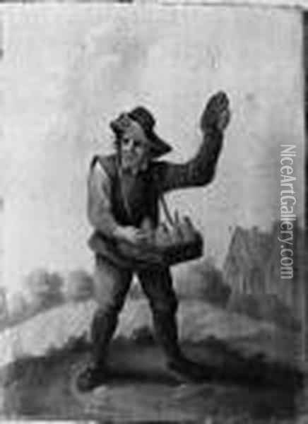 A Quack And A Boor Smoking A Pipe, Standing Small Full Lengths Inlandscapes Oil Painting - David The Younger Teniers