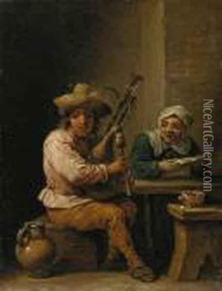 A Bagpipe Player With A Lady Reading A Letter In An Interior Oil Painting - David The Younger Teniers