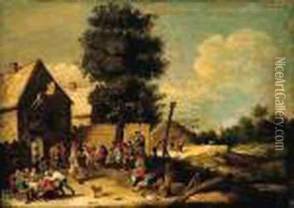 A Peasant Couple Dancing To The  Music Of A Bagpiper, Standing On Abarrel, With Other Peasants  Merrymaking, Ouside An Inn Oil Painting - David The Younger Teniers