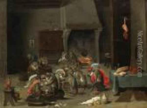 A Tavern Interior With Monkeys Playing Cards And Backgammon Oil Painting - David The Younger Teniers