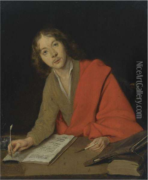 Saint John The Evangelist Writing At A Table Oil Painting - Gerard Terborch