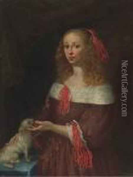 Portrait Of A Lady, Three-quarter-length, With A Dog Oil Painting - Gerard Terborch