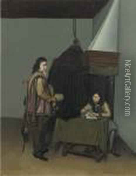 Two Officers In A Guardroom Oil Painting - Gerard Terborch