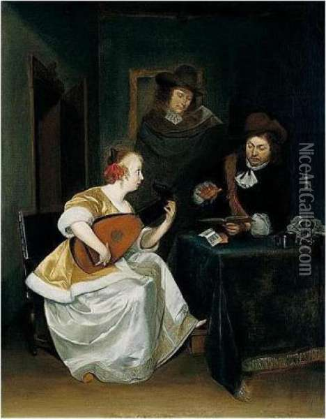 An Interior With Two Gentlemen And A Lady Playing A Lute Oil Painting - Gerard Terborch