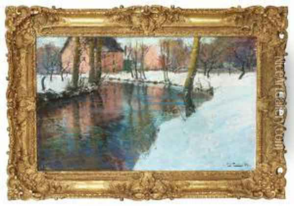 Winter Landscape With Stream Oil Painting - Fritz Thaulow