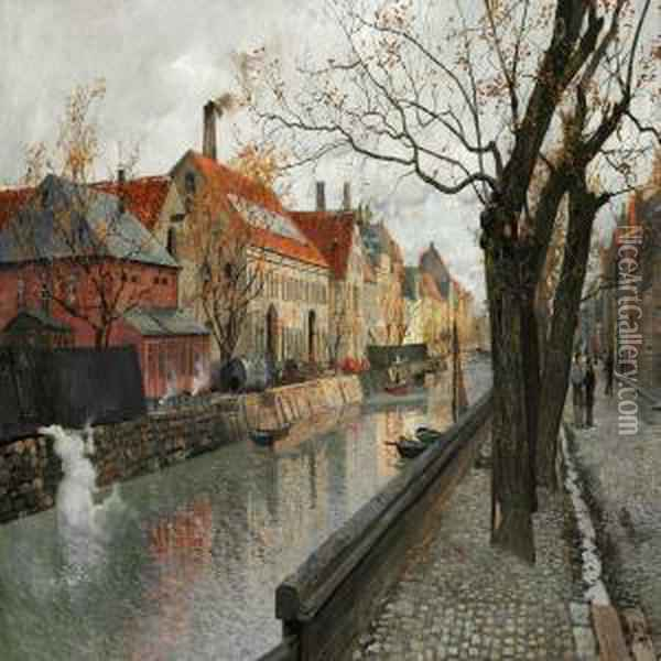 View Of Overgaden Oil Painting - Fritz Thaulow