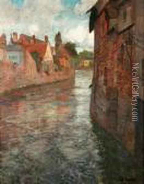 Oldhouses At Somme In Abbeville Oil Painting - Fritz Thaulow