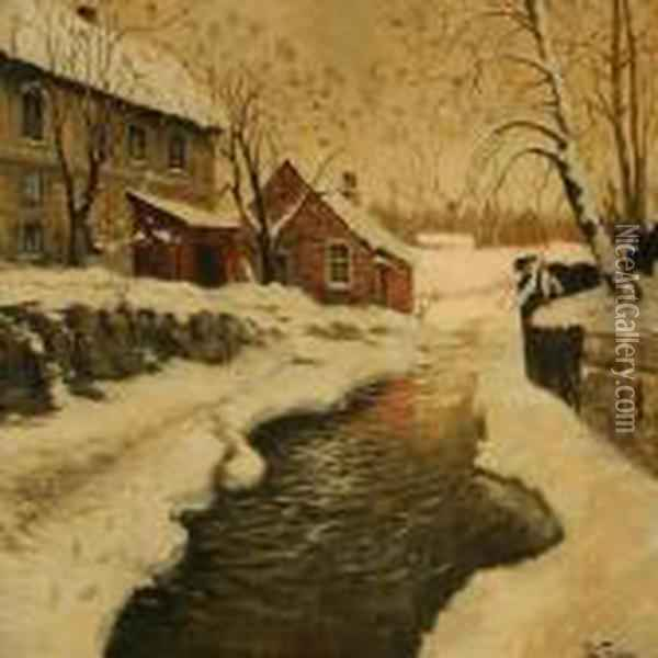 Winter Day At A Stream Oil Painting - Fritz Thaulow