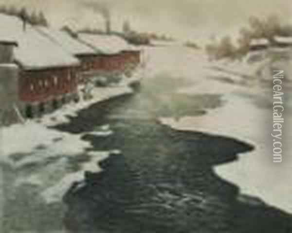 Winter In Norway. Oil Painting - Fritz Thaulow
