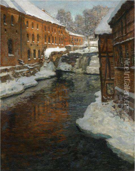 Fra Akerselven (the Akerselven River In The Snow) Oil Painting - Fritz Thaulow
