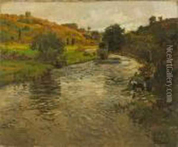 A River Landscape With Two Washerwomen On Theriver Bank Oil Painting - Fritz Thaulow