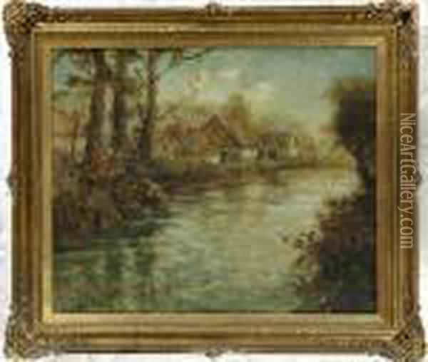 Landscape With Cottages Oil Painting - Fritz Thaulow
