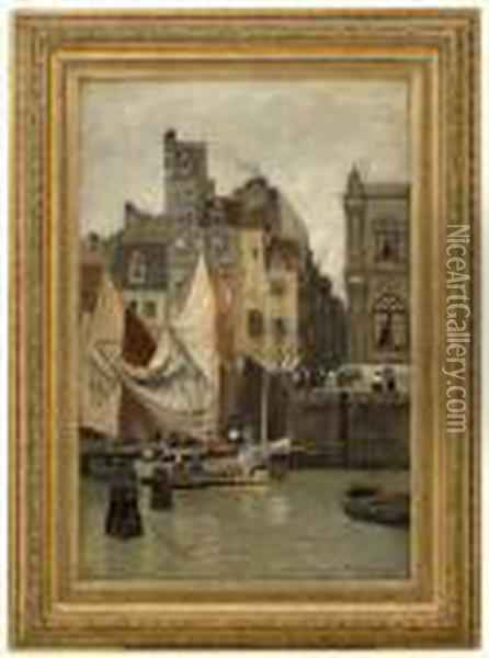High Tide, Motif From Le Havre Oil Painting - Fritz Thaulow
