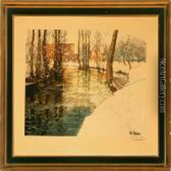 A Winter Landscape Oil Painting - Fritz Thaulow