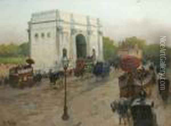 Londres, Marble Arch Oil Painting - Fritz Thaulow
