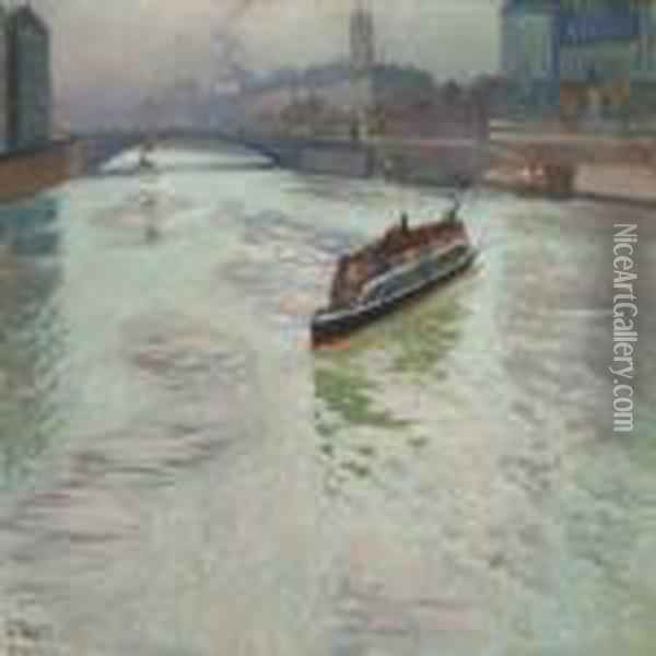 The Seine In Paris In November Oil Painting - Fritz Thaulow