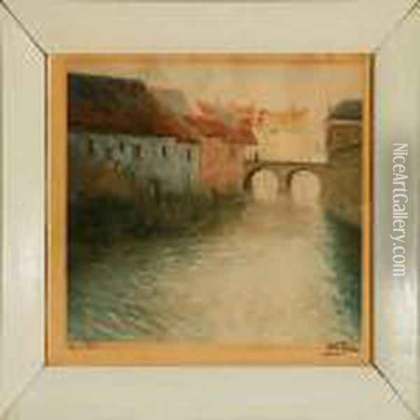 Canal Scene, Presumeably From Antwerp Oil Painting - Fritz Thaulow