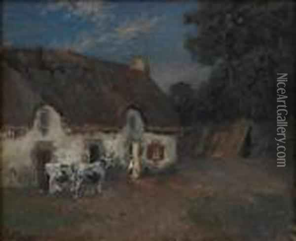 Farm In Bretagne, Evening Oil Painting - Fritz Thaulow
