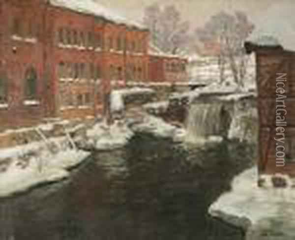 Factories Byakerselven, Snow Oil Painting - Fritz Thaulow