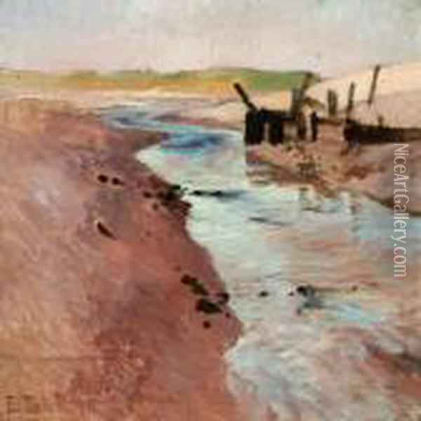Low Tide At Ambleteuse, Nord-pas-de-calais, France Oil Painting - Fritz Thaulow