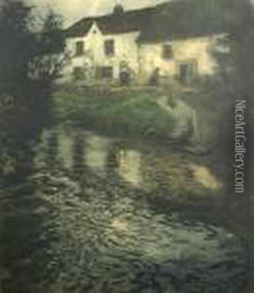 Untitled (nocturnal River Scene) Oil Painting - Fritz Thaulow