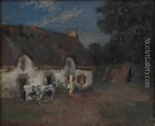 Farm In Bretagne,evening Oil Painting - Fritz Thaulow