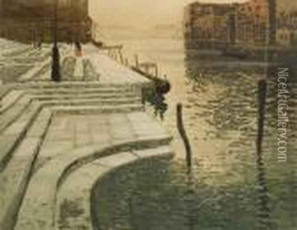 The Marblestaircase Oil Painting - Fritz Thaulow