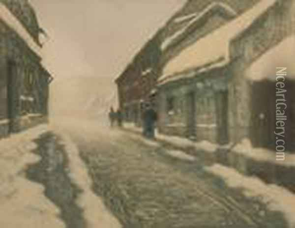 Thaw Oil Painting - Fritz Thaulow
