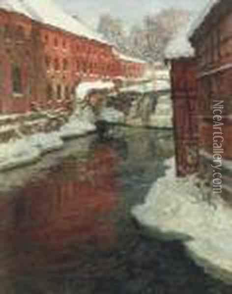 Snodekt By Med Elv Og Foss (snow-covered Town With Waterfall) Oil Painting - Fritz Thaulow