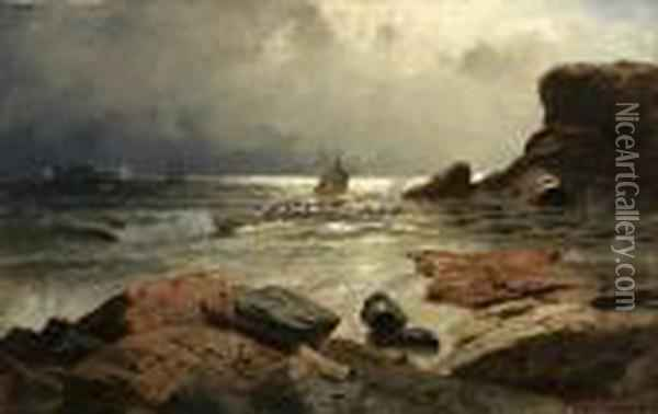 Brenning Ved Norsk Kyst Oil Painting - Fritz Thaulow