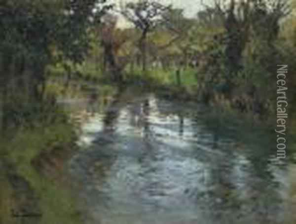On The Banks Oil Painting - Fritz Thaulow