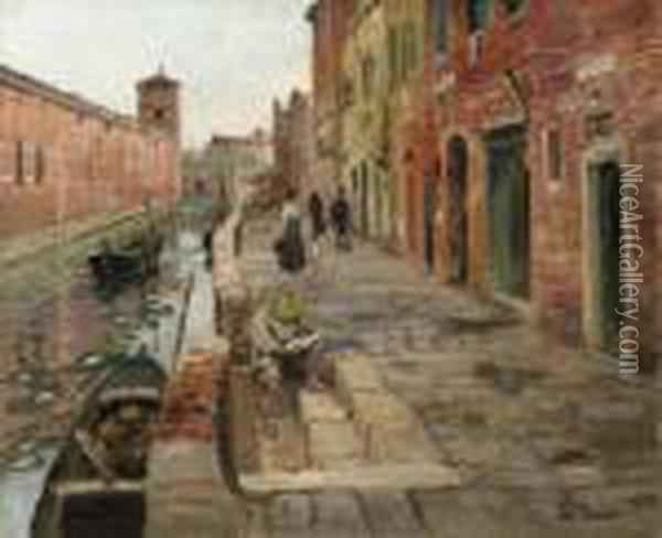 Venice  With Signature 'fritz Thaulow.' (lower Right) Oil Painting - Fritz Thaulow