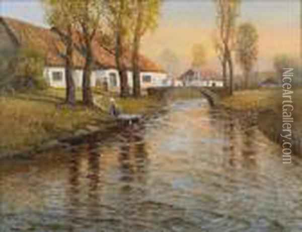 House And Stream Oil Painting - Fritz Thaulow