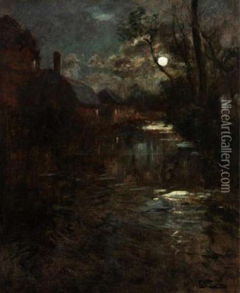 River By Moonlight Oil Painting - Fritz Thaulow