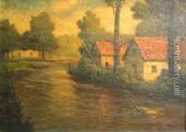 Cottages On A River Oil Painting - Fritz Thaulow