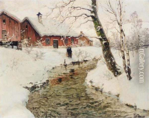 Vinter I Norge (winter In Norway) Oil Painting - Fritz Thaulow