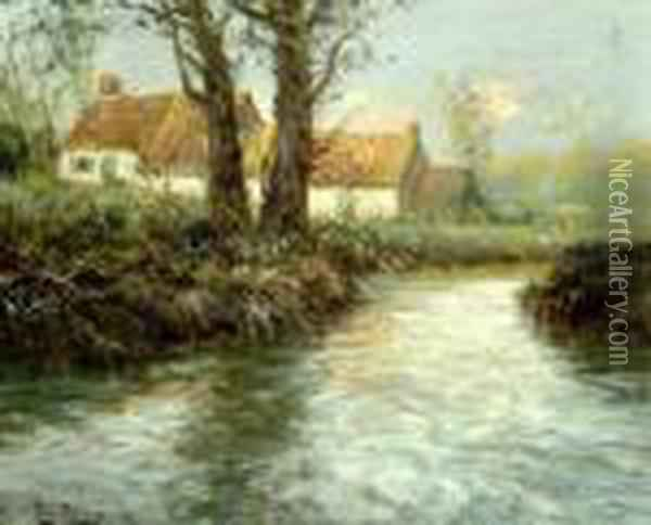 House Oil Painting - Fritz Thaulow