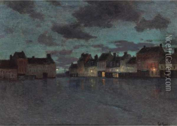 Marketplace In Dieppe, After A Rainstorm Oil Painting - Fritz Thaulow